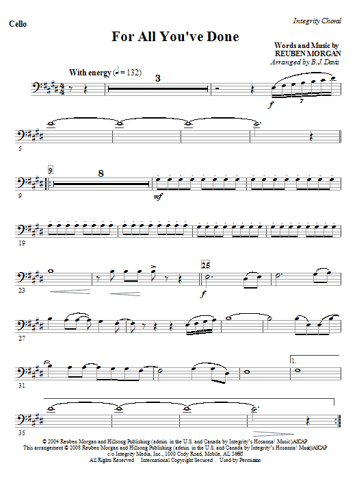 For All You've Done - Double Bass Sheet Music