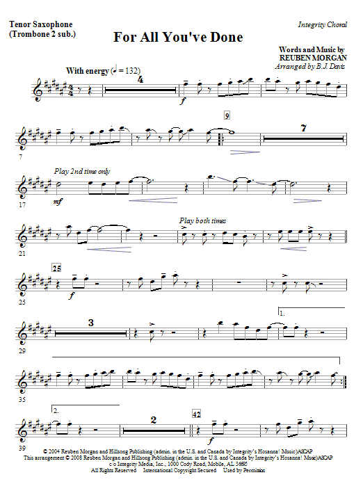 For All You've Done - Bass Clarinet (Cello sub) Sheet Music