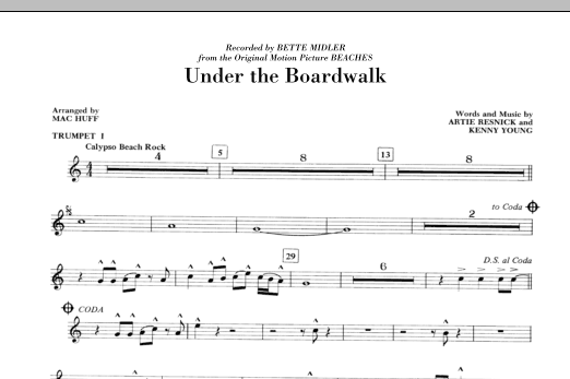 Under The Boardwalk (complete set of parts) sheet music for orchestra/band (chamber ensemble) by Mac Huff, Bette Midler, Kenny Young and The Drifters. Score Image Preview.