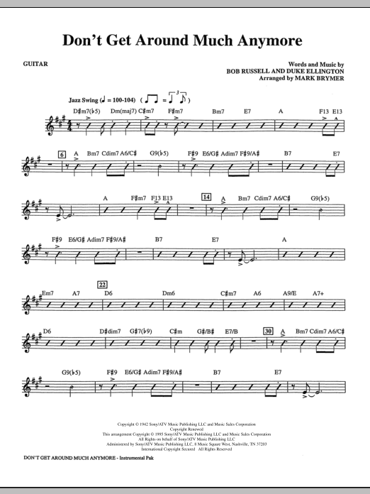 Don't Get Around Much Anymore (complete set of parts) sheet music for orchestra/band (Rhythm) by Mark Brymer, Bob Russell and Duke Ellington. Score Image Preview.