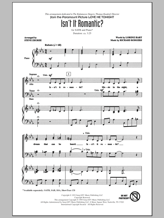 Isn't It Romantic? (arr. Steve Zegree) Sheet Music