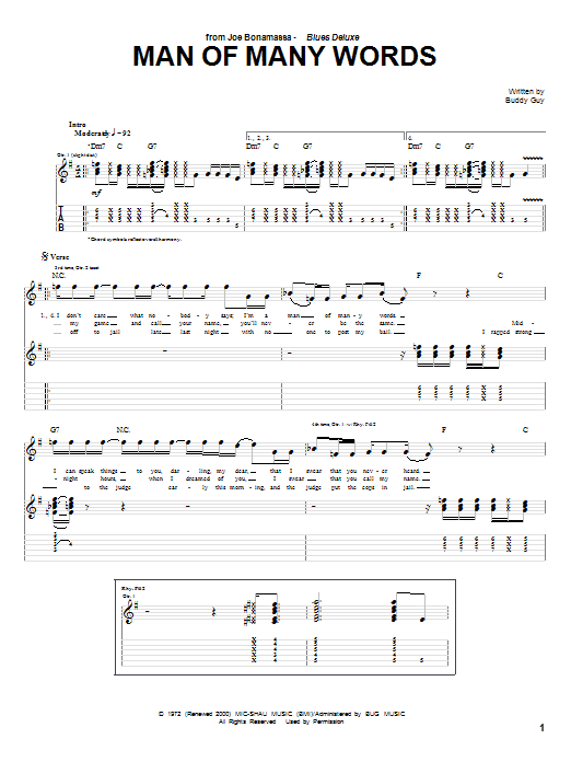 Tablature guitare Man Of Many Words de Joe Bonamassa - Tablature Guitare
