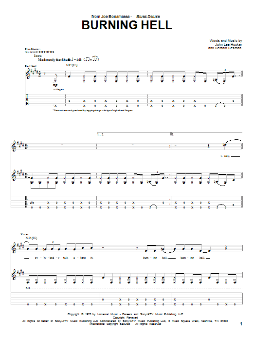 Tablature guitare Burning Hell de Joe Bonamassa - Tablature Guitare