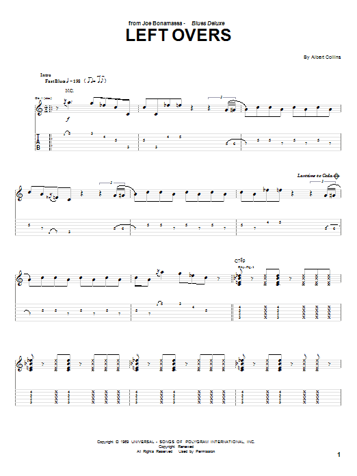 Tablature guitare Left Overs de Joe Bonamassa - Tablature Guitare
