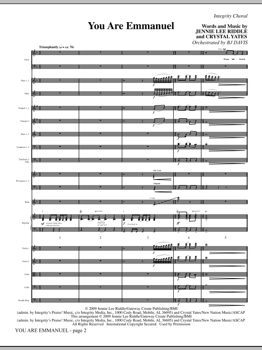 You Are Emmanuel - Full Score Sheet Music