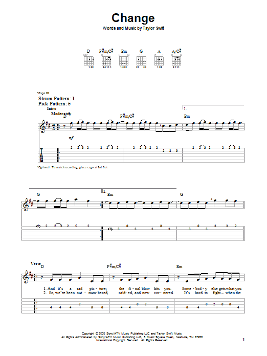 Tablature guitare Change de Taylor Swift - Tablature guitare facile