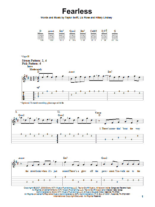 Tablature guitare Fearless de Taylor Swift - Tablature guitare facile