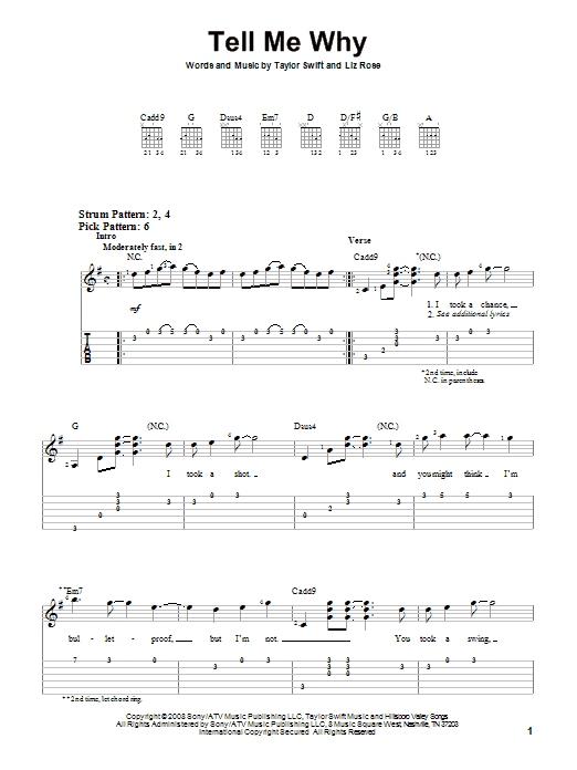 Tablature guitare Tell Me Why de Taylor Swift - Tablature guitare facile