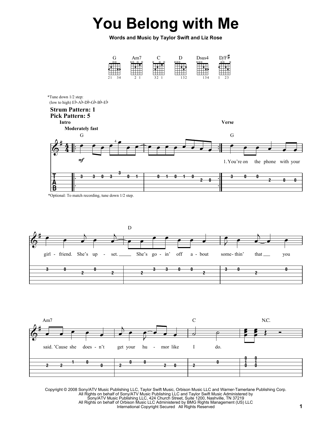 You Belong With Me By Taylor Swift Easy Guitar Tab Guitar Instructor
