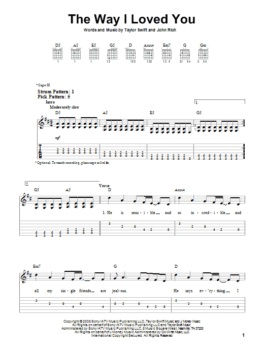 Tablature guitare The Way I Loved You de Taylor Swift - Tablature guitare facile