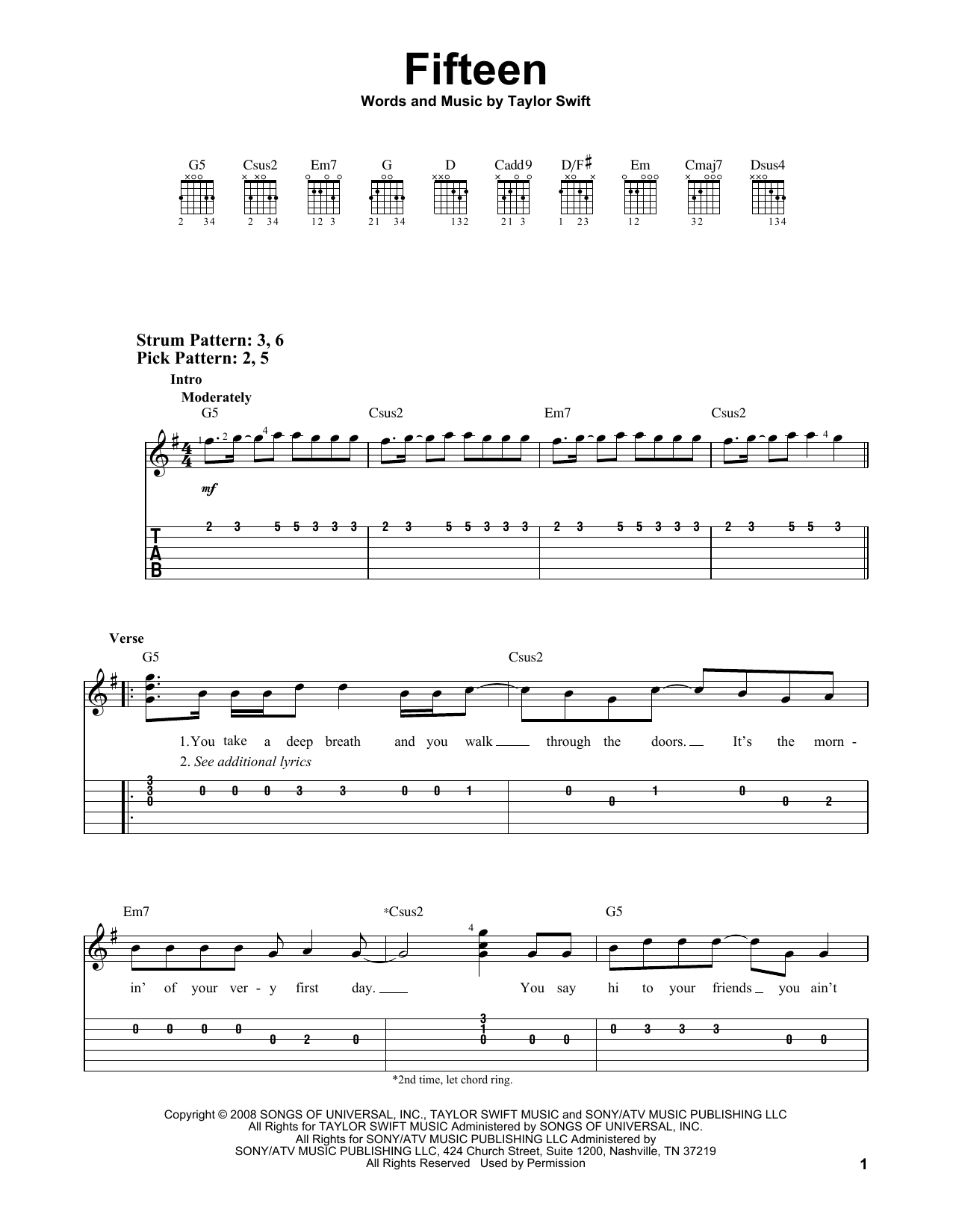 Fifteen (Easy Guitar Tab)