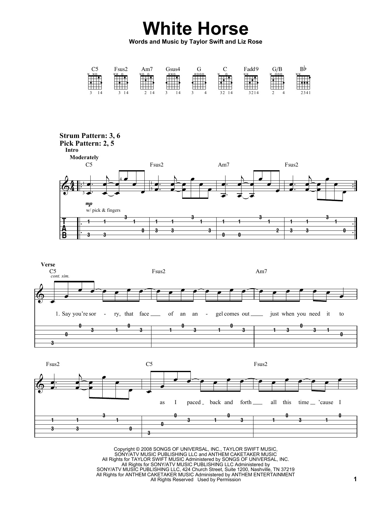 White Horse By Taylor Swift Easy Guitar Tab Guitar Instructor