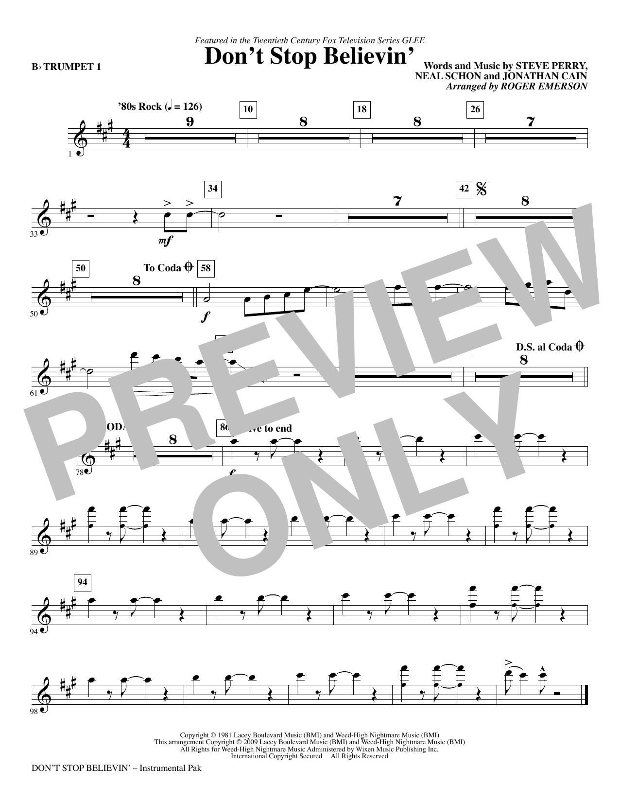 Dont Stop Believin Trumpet 1 Sheet Music Roger Emerson