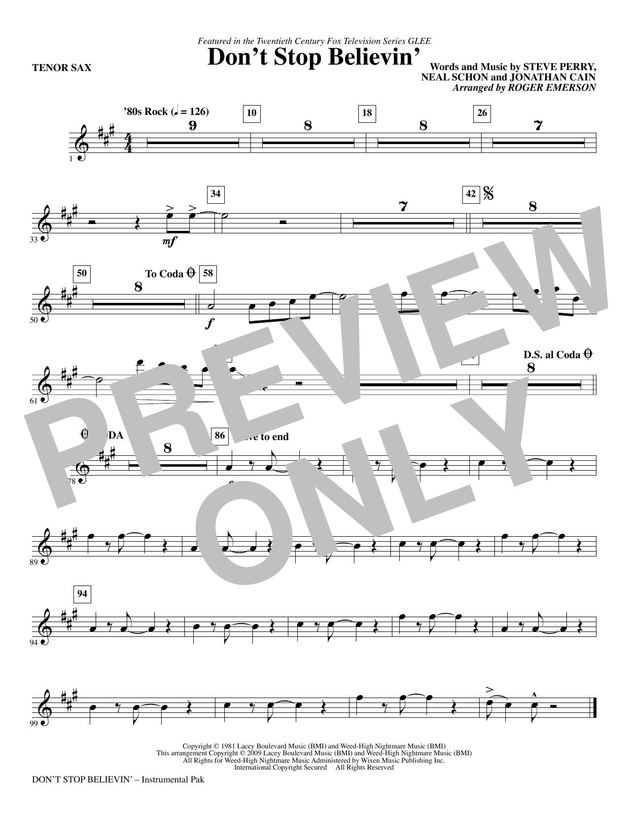 Don't Stop Believin' - Tenor Sax (Choir Instrumental Pak)
