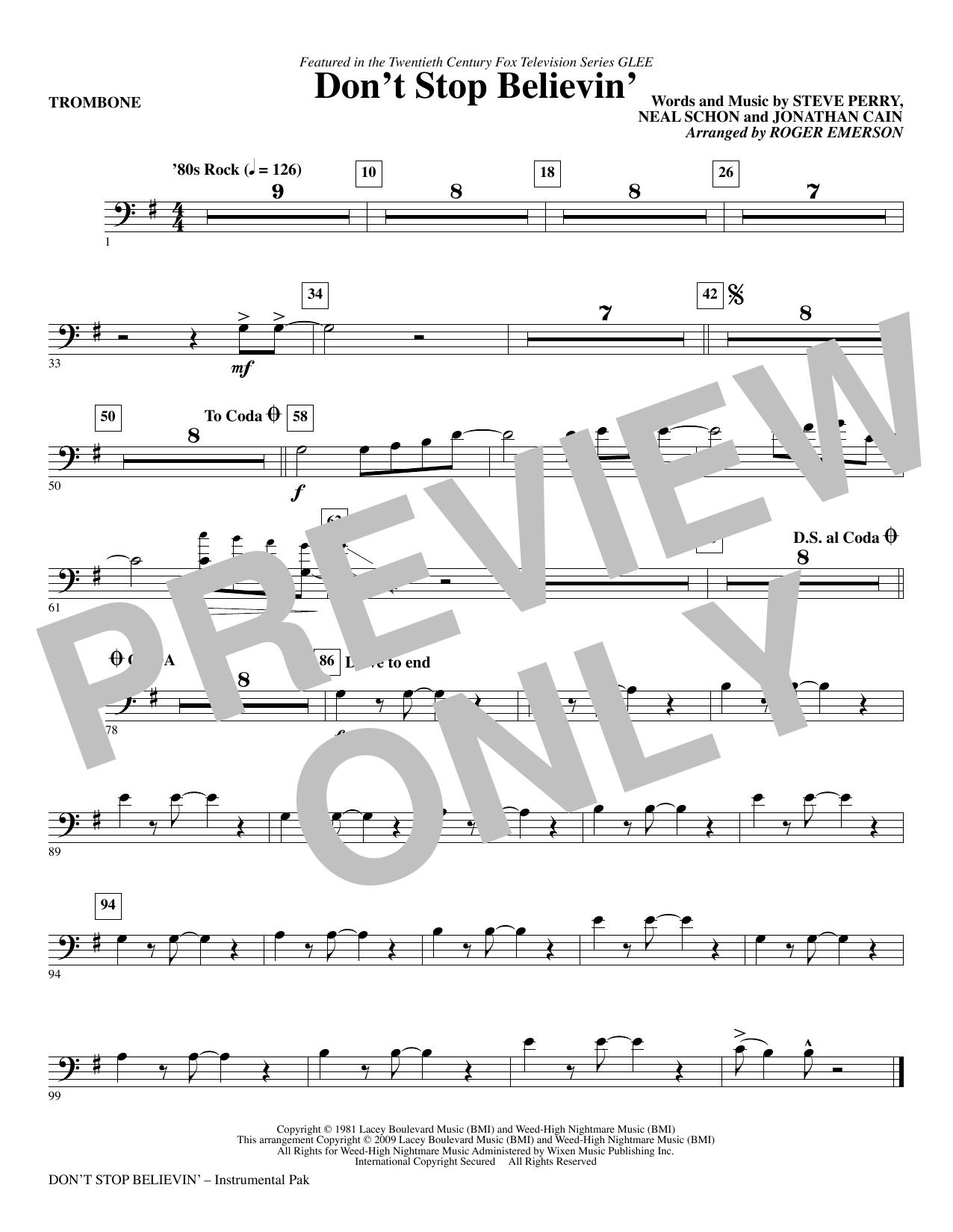 Don't Stop Believin' - Trombone (Choir Instrumental Pak)