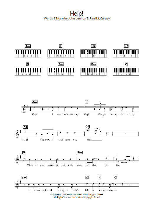 Help! (Piano Chords/Lyrics)