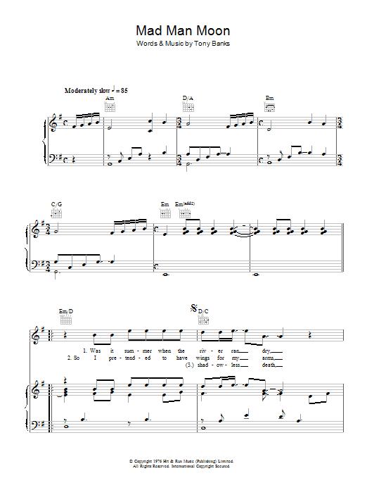 Mad Man Moon (Piano, Vocal & Guitar)