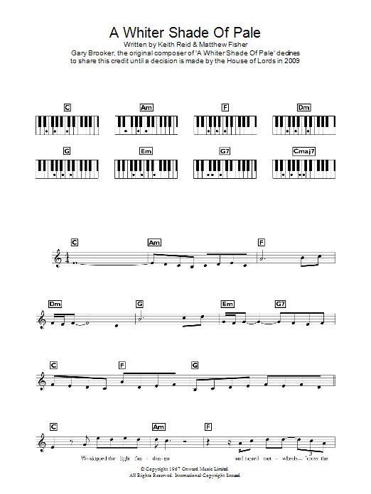 A Whiter Shade Of Pale Sheet Music Procol Harum Keyboard