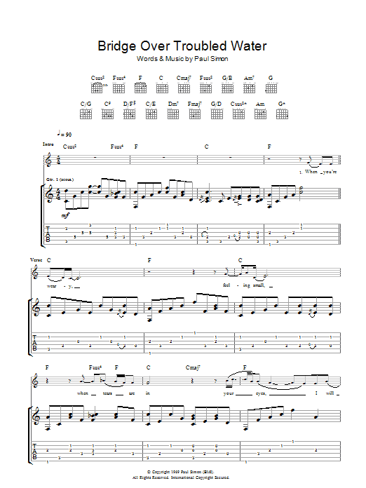 Bridge Over Troubled Water (Guitar Tab)