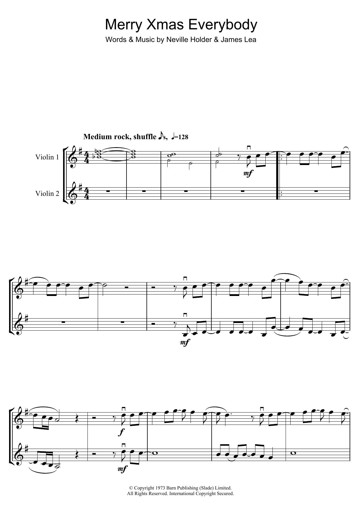 Merry Xmas Everybody (Violin Duet)