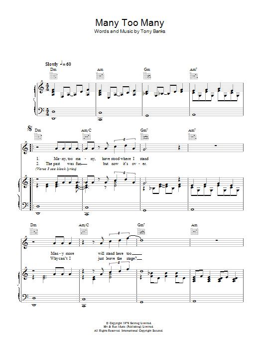 Many Too Many (Piano, Vocal & Guitar)