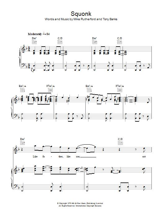 Genesis - Squonk atStanton's Sheet Music