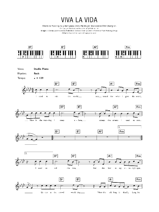 Viva La Vida : Sheet Music Direct