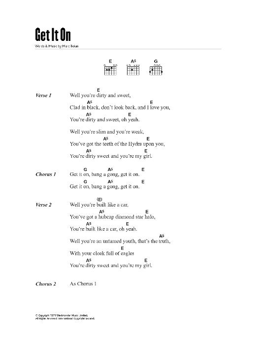 Bang A Gong (Get It On) (Guitar Chords/Lyrics)