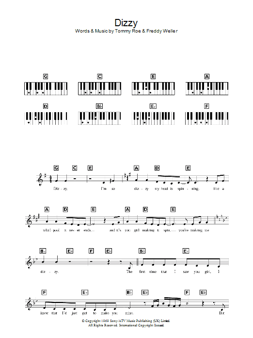 Dizzy (Piano Chords/Lyrics)