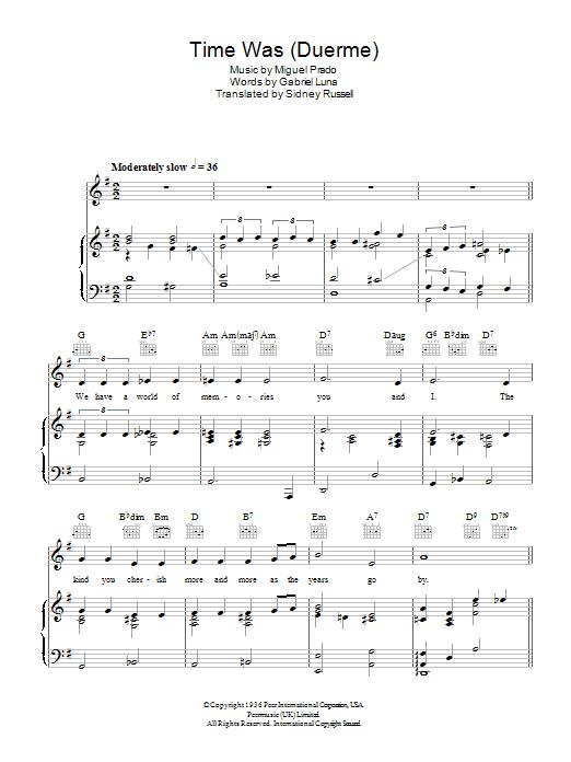 Time Was (Duerme) (Piano, Vocal & Guitar)