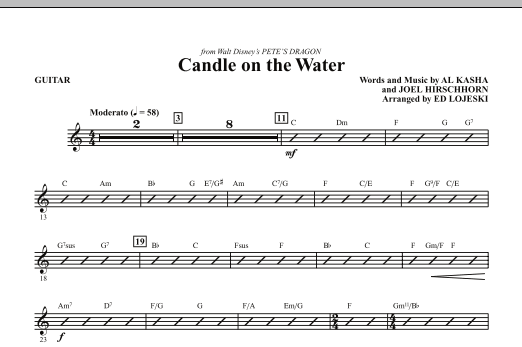 Candle On The Water (complete set of parts) sheet music for orchestra/band (Rhythm) by Al Kasha, Joel Hirschhorn and Ed Lojeski. Score Image Preview.