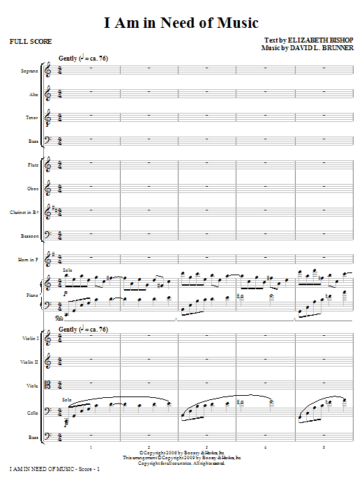 I Am In Need Of Music - Full Score Sheet Music