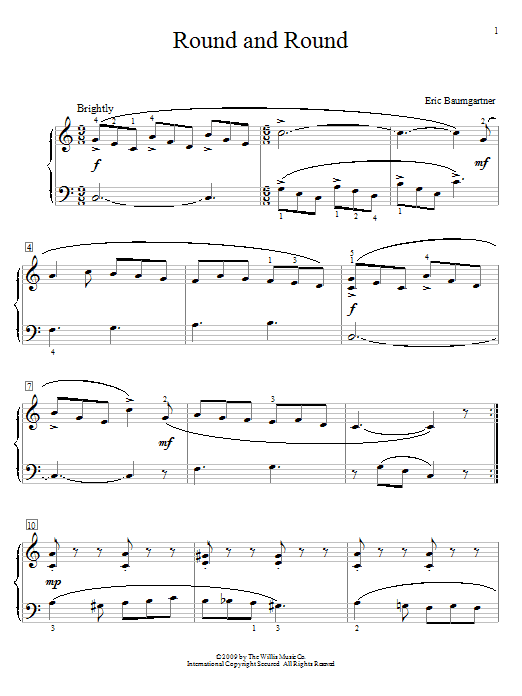 Partition piano Round And Round de Eric Baumgartner - Piano Solo