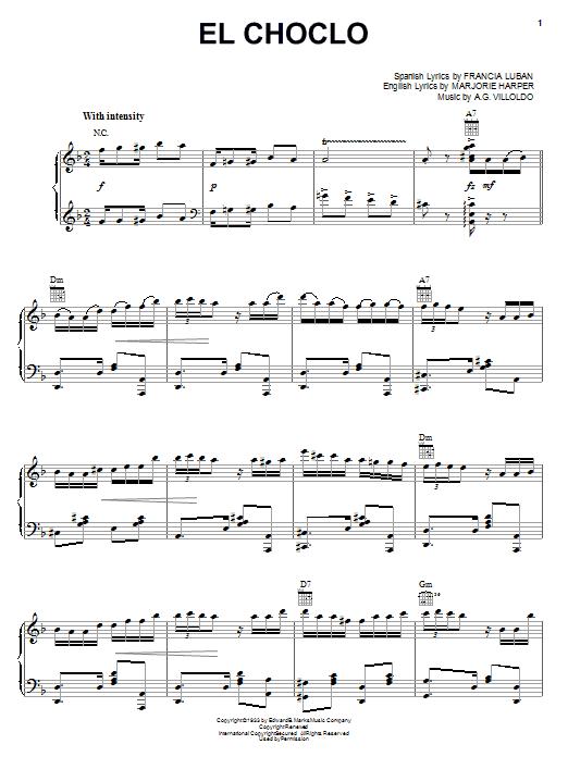 El Choclo (Piano, Vocal & Guitar (Right-Hand Melody))