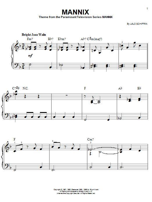 Partition piano Mannix de Lalo Schifrin - Piano Facile