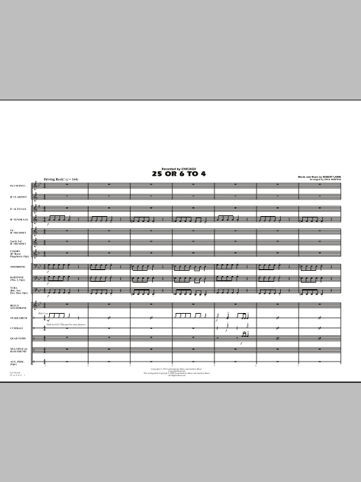 25 Or 6 To 4 - Full Score (Marching Band)