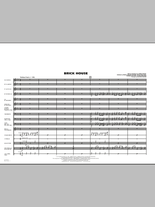 Brick House (COMPLETE) sheet music for marching band by Michael Brown, Lionel Richie, Milan Williams, Ronald LaPread, The Commodores, Walter Orange and William King. Score Image Preview.