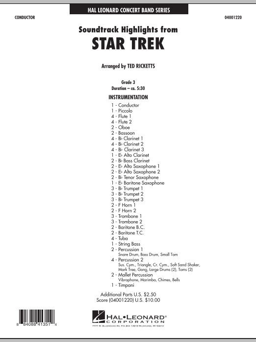 Star Trek - Soundtrack Highlights (COMPLETE) sheet music for concert band by Ted Ricketts and Michael Giacchino. Score Image Preview.