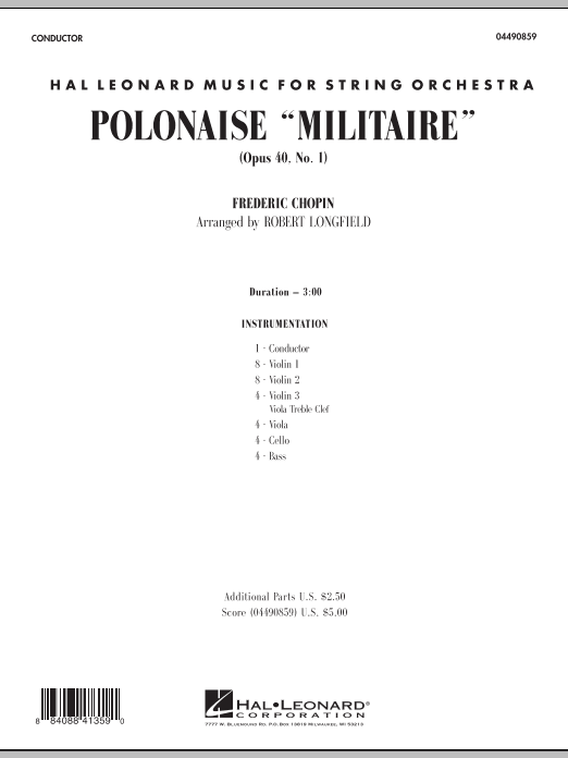 Polonaise Militaire (COMPLETE) sheet music for orchestra by Frederic Chopin and Robert Longfield. Score Image Preview.