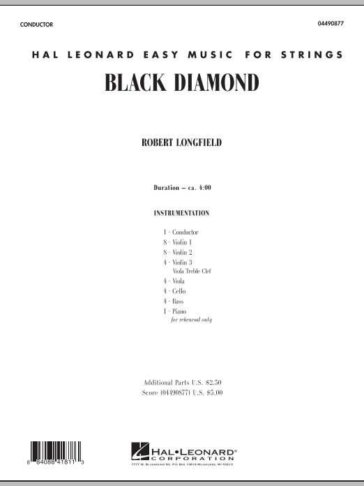 Black Diamond (COMPLETE) sheet music for orchestra by Robert Longfield. Score Image Preview.