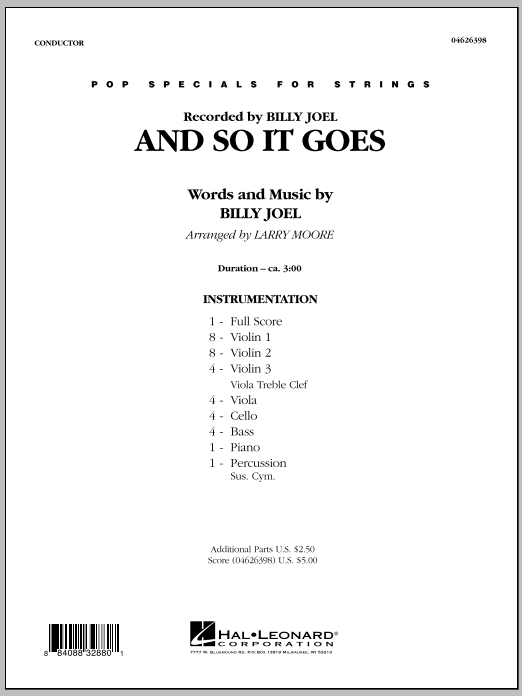 And So It Goes - Full Score (Orchestra)