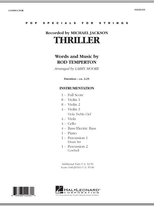 Thriller (COMPLETE) sheet music for orchestra by Larry Moore, Michael Jackson and Rod Temperton. Score Image Preview.