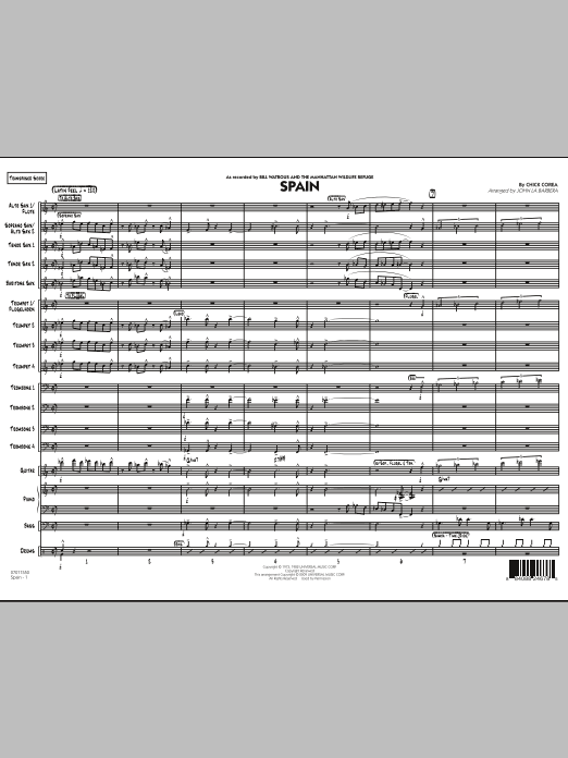 Spain - Conductor Score (Full Score) (Jazz Ensemble)