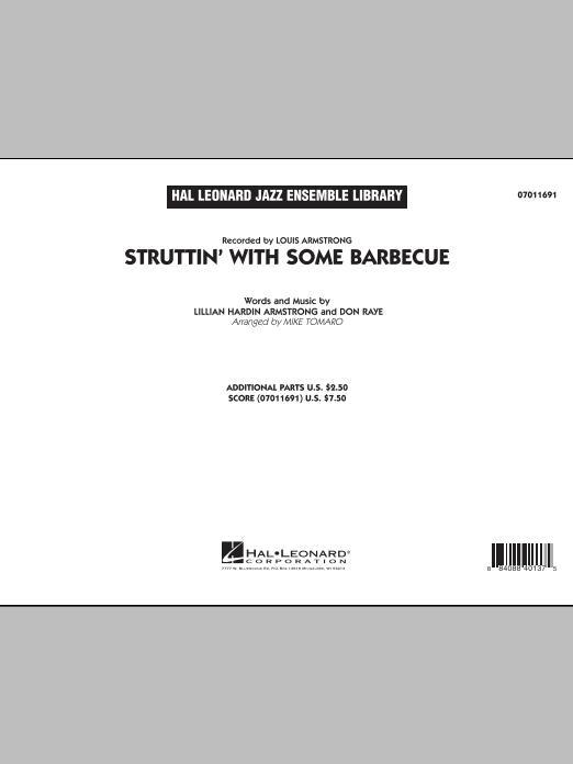 Struttin' with Some Barbecue (COMPLETE) sheet music for jazz band by Mike Tomaro, Don Raye, Lillian Hardin Armstrong and Louis Armstrong. Score Image Preview.