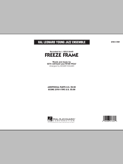 Freeze Frame (COMPLETE) sheet music for jazz band by Roger Holmes, J. Geils Band, Peter Wolf and Seth Justman. Score Image Preview.