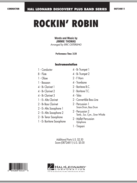 Rockin' Robin (COMPLETE) sheet music for concert band by Jimmie Thomas, Bobby Day, Eric Osterling and Michael Jackson. Score Image Preview.