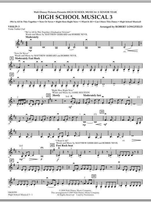 High School Musical 3 - Violin 3 (Viola Treble Clef) (Orchestra)