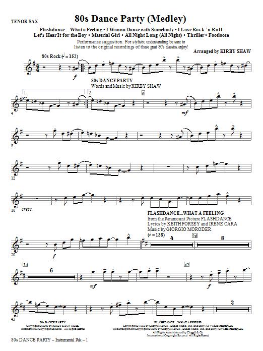 80s Dance Party (Medley) - Tenor Sax (Choir Instrumental Pak)