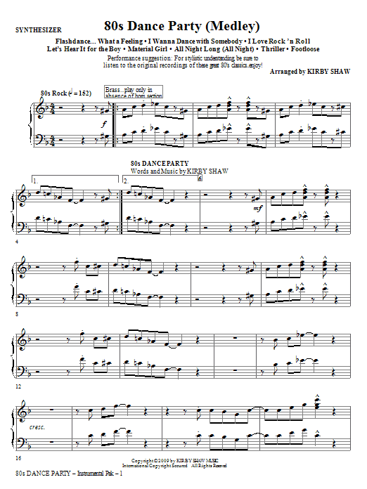 80s Dance Party (Medley) - Synthesizer (Choir Instrumental Pak)