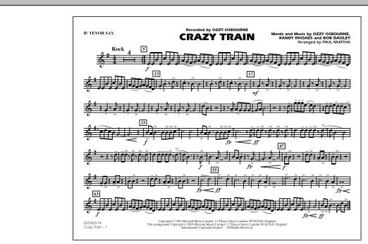 Crazy Train - Bb Tenor Sax (Marching Band)